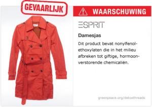gevaarlijke chemicaliën terug te vinden zijn in de kleding van 20 internationale modemerken